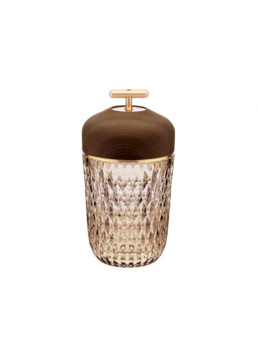 AMBER DARK WOOD BRUSHED BRASS FINISH PORTABLE LAMP